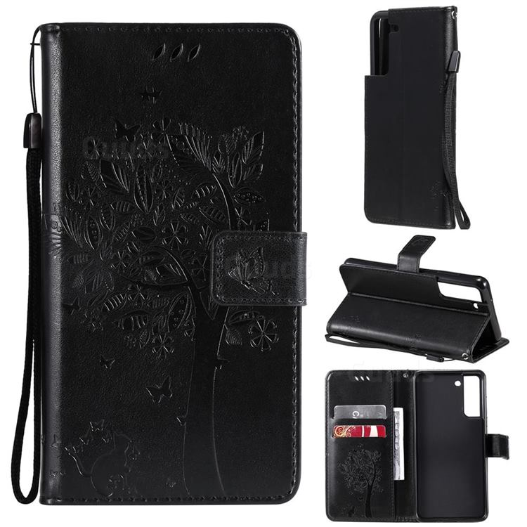 Embossing Butterfly Tree Leather Wallet Case for Samsung Galaxy S21 FE - Black