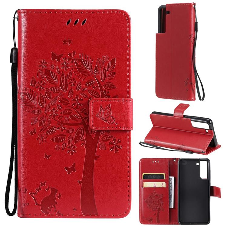 Embossing Butterfly Tree Leather Wallet Case for Samsung Galaxy S21 FE - Red