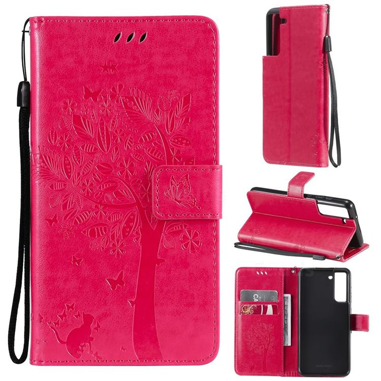Embossing Butterfly Tree Leather Wallet Case for Samsung Galaxy S21 FE - Rose