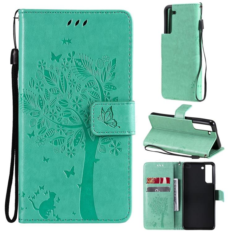 Embossing Butterfly Tree Leather Wallet Case for Samsung Galaxy S21 FE - Cyan