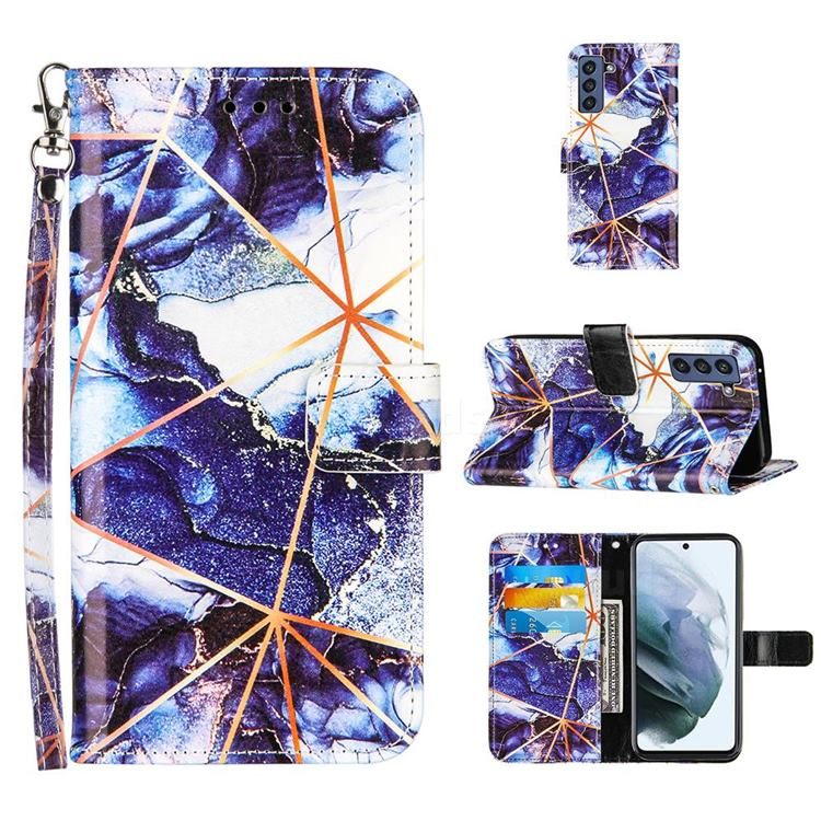 Starry Blue Stitching Color Marble Leather Wallet Case for Samsung Galaxy S21 FE