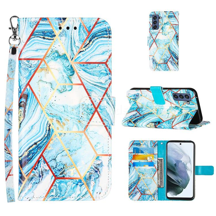 Lake Blue Stitching Color Marble Leather Wallet Case for Samsung Galaxy S21 FE