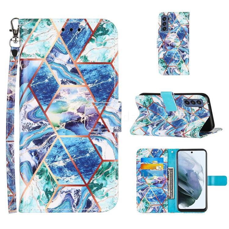 Green and Blue Stitching Color Marble Leather Wallet Case for Samsung Galaxy S21 FE