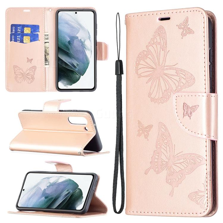 Embossing Double Butterfly Leather Wallet Case for Samsung Galaxy S21 FE - Rose Gold