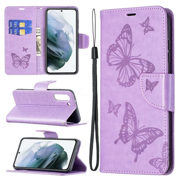 Embossing Double Butterfly Leather Wallet Case for Samsung Galaxy S21 FE - Purple