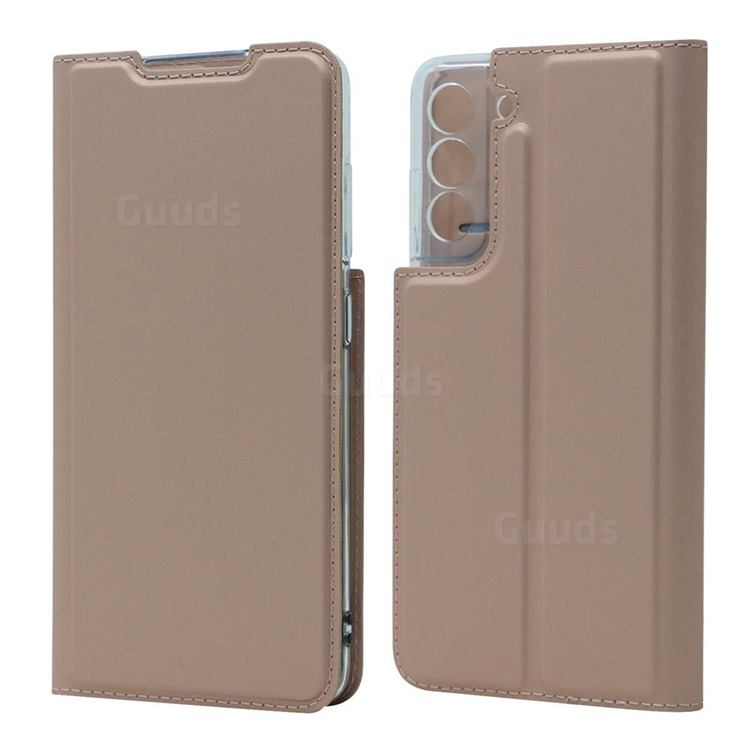 Ultra Slim Card Magnetic Automatic Suction Leather Wallet Case for Samsung Galaxy S21 FE - Rose Gold