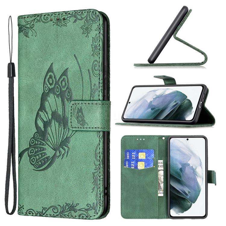 Binfen Color Imprint Vivid Butterfly Leather Wallet Case for Samsung Galaxy S21 FE - Green