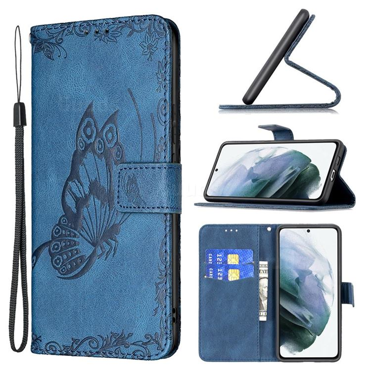 Binfen Color Imprint Vivid Butterfly Leather Wallet Case for Samsung Galaxy S21 FE - Blue