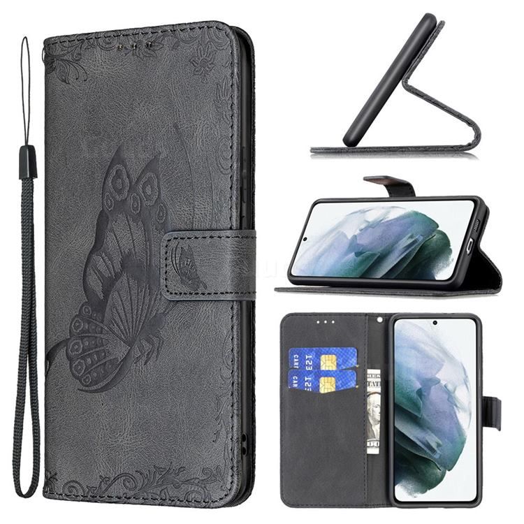 Binfen Color Imprint Vivid Butterfly Leather Wallet Case for Samsung Galaxy S21 FE - Black