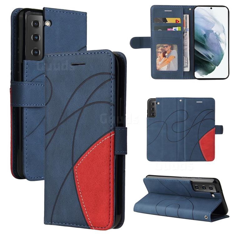 Luxury Two-color Stitching Leather Wallet Case Cover for Samsung Galaxy S21 FE - Blue