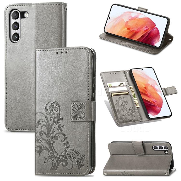 Embossing Imprint Four-Leaf Clover Leather Wallet Case for Samsung Galaxy S21 FE - Grey