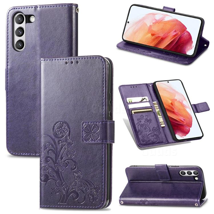 Embossing Imprint Four-Leaf Clover Leather Wallet Case for Samsung Galaxy S21 FE - Purple
