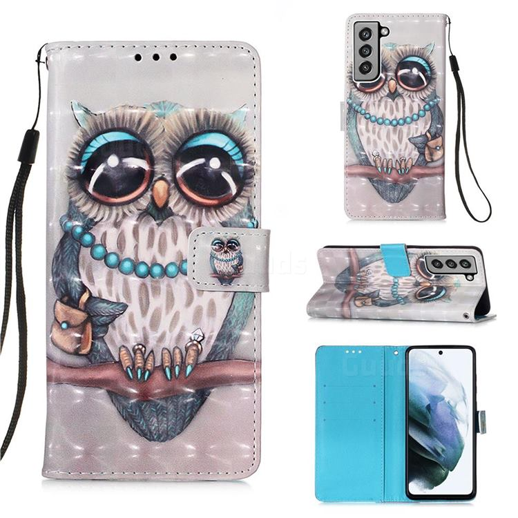 Sweet Gray Owl 3D Painted Leather Wallet Case for Samsung Galaxy S21 FE