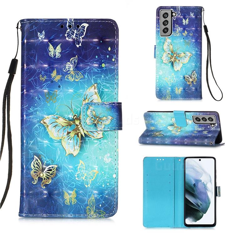 Gold Butterfly 3D Painted Leather Wallet Case for Samsung Galaxy S21 FE