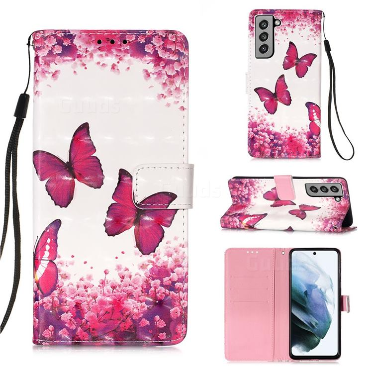 Rose Butterfly 3D Painted Leather Wallet Case for Samsung Galaxy S21 FE