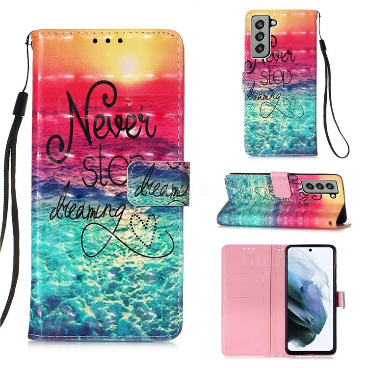 Colorful Dream Catcher 3D Painted Leather Wallet Case for Samsung Galaxy S21 FE