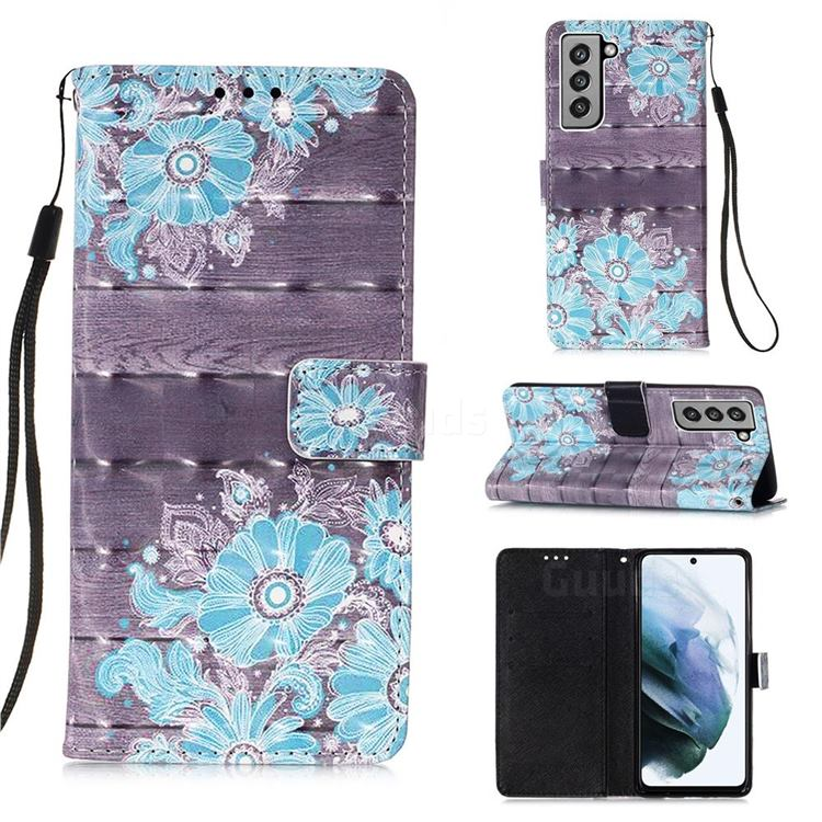 Blue Flower 3D Painted Leather Wallet Case for Samsung Galaxy S21 FE