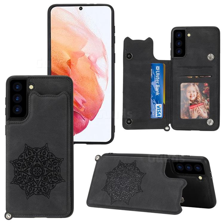 Luxury Mandala Multi-function Magnetic Card Slots Stand Leather Back Cover for Samsung Galaxy S21 FE - Black