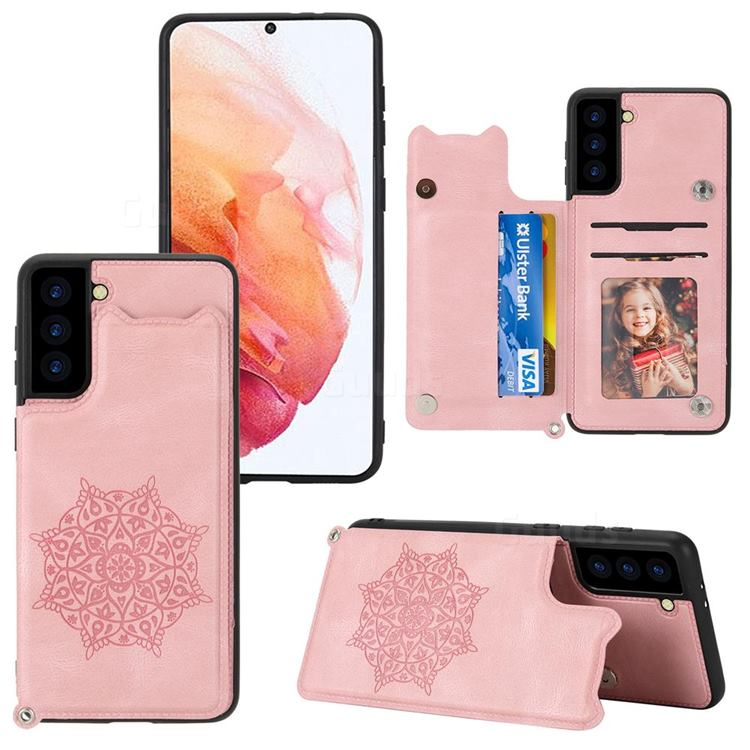 Luxury Mandala Multi-function Magnetic Card Slots Stand Leather Back Cover for Samsung Galaxy S21 FE - Rose Gold