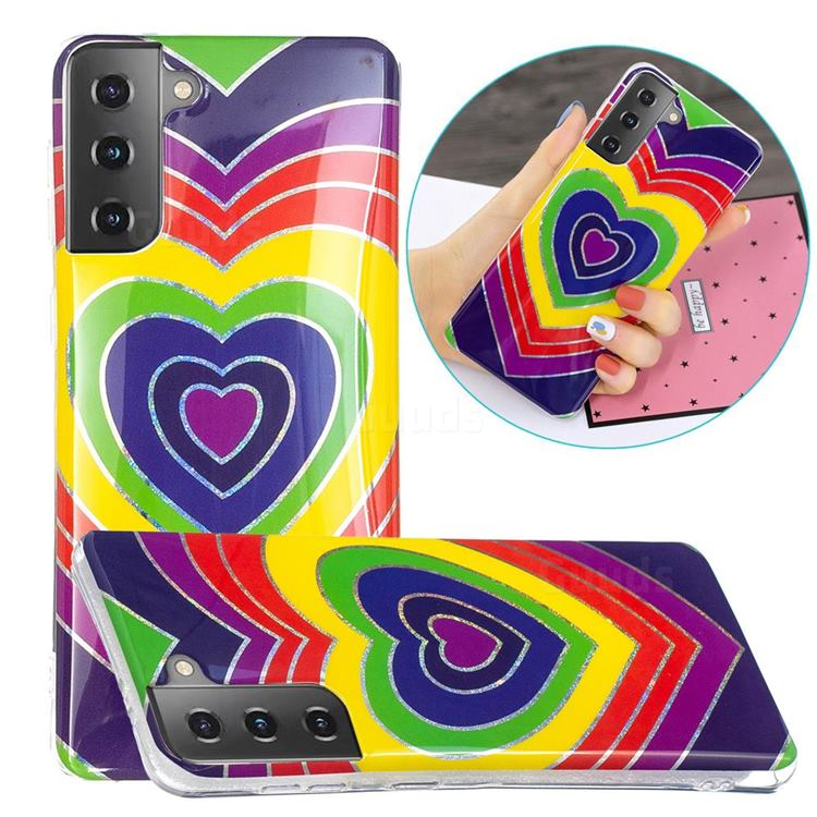Rainbow Heart Painted Galvanized Electroplating Soft Phone Case Cover for Samsung Galaxy S21 Plus / S30 Plus