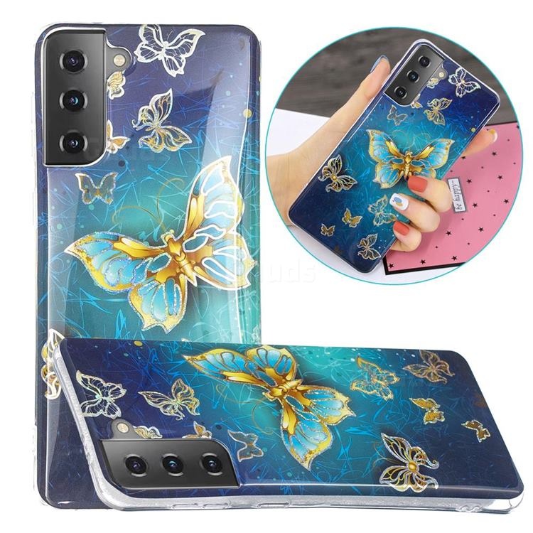 Golden Butterfly Painted Galvanized Electroplating Soft Phone Case Cover for Samsung Galaxy S21 Plus / S30 Plus