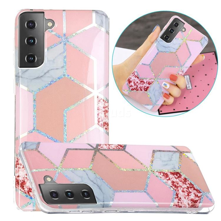 Pink Marble Painted Galvanized Electroplating Soft Phone Case Cover for Samsung Galaxy S21 Plus / S30 Plus