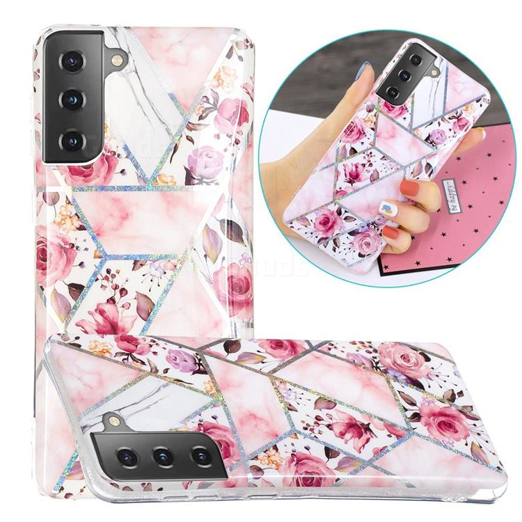 Rose Flower Painted Galvanized Electroplating Soft Phone Case Cover for Samsung Galaxy S21 Plus / S30 Plus