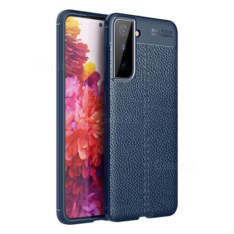 Luxury Auto Focus Litchi Texture Silicone TPU Back Cover for Samsung Galaxy S21 Plus / S30 Plus - Dark Blue