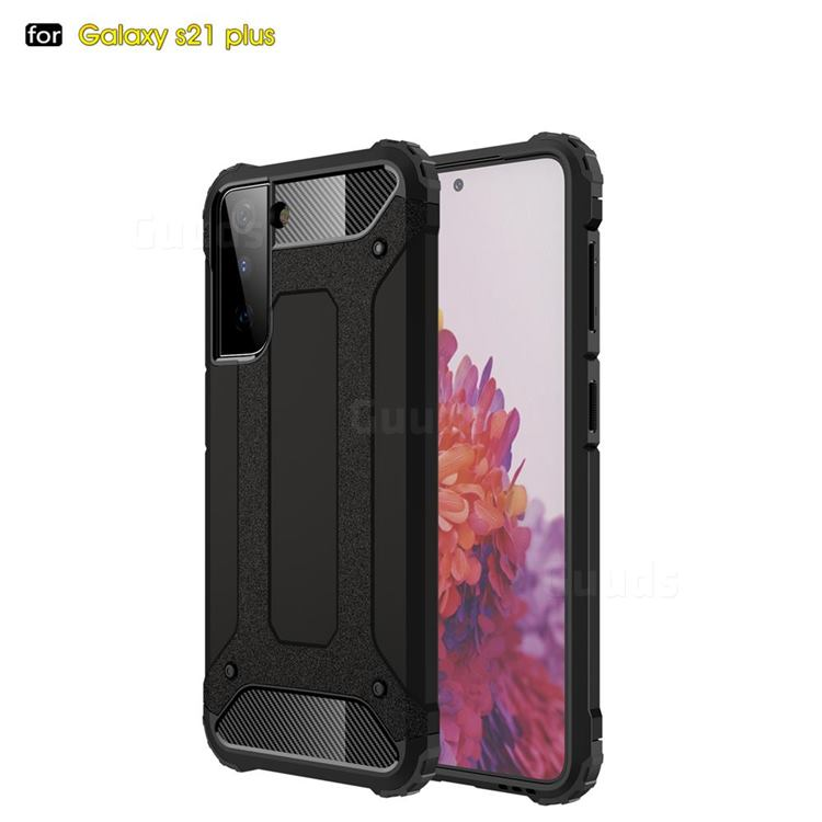 King Kong Armor Premium Shockproof Dual Layer Rugged Hard Cover for Samsung Galaxy S21 Plus - Black Gold