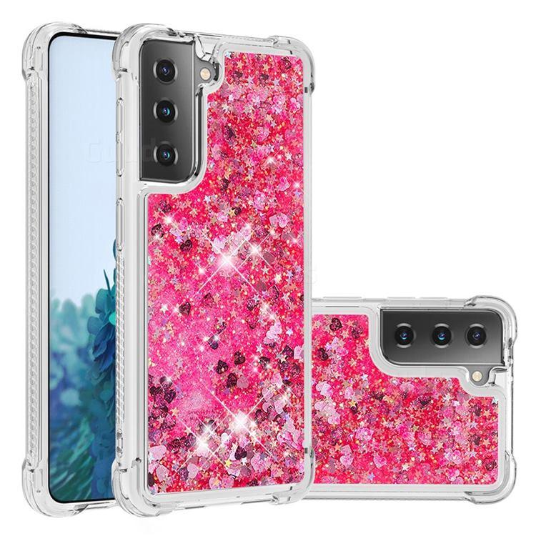 Dynamic Liquid Glitter Sand Quicksand TPU Case for Samsung Galaxy S21 Plus - Pink Love Heart