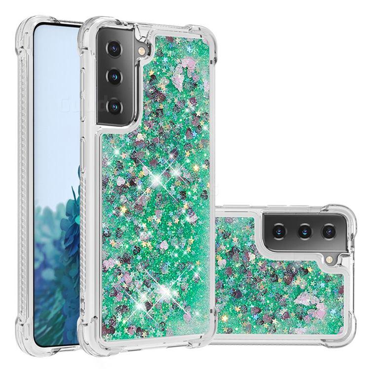 Dynamic Liquid Glitter Sand Quicksand TPU Case for Samsung Galaxy S21 Plus - Green Love Heart