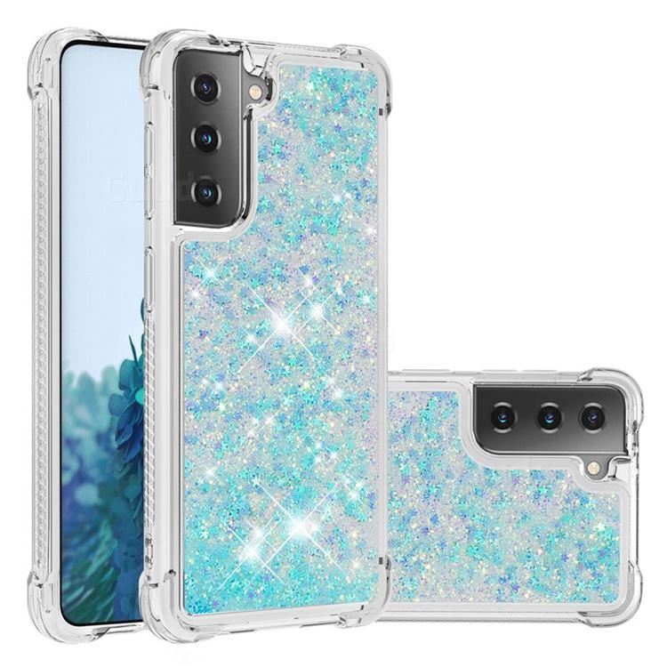 Dynamic Liquid Glitter Sand Quicksand TPU Case for Samsung Galaxy S21 Plus - Silver Blue Star