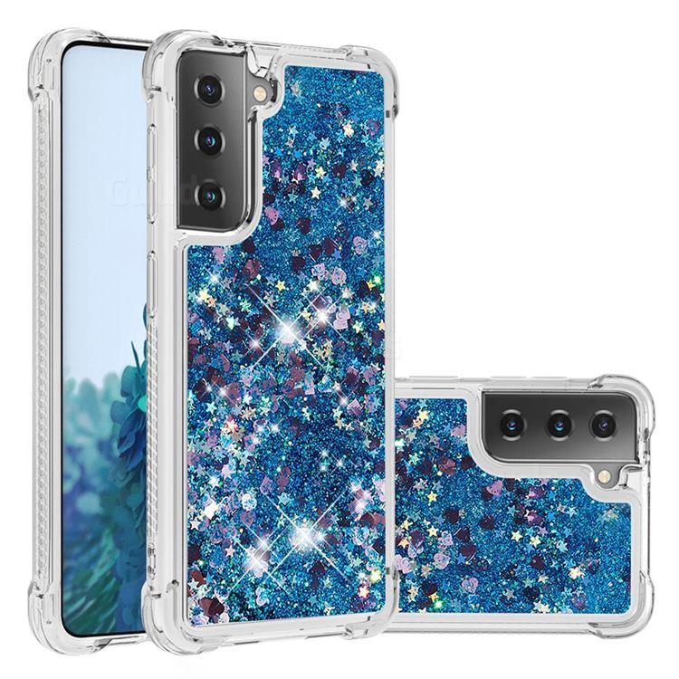 Dynamic Liquid Glitter Sand Quicksand TPU Case for Samsung Galaxy S21 Plus - Blue Love Heart