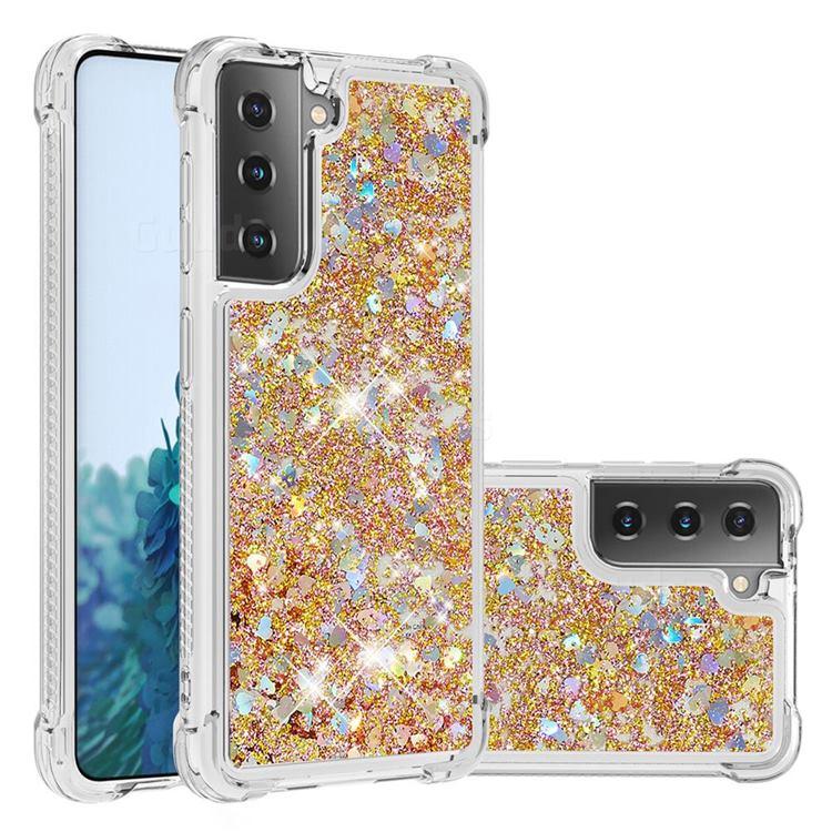 Dynamic Liquid Glitter Sand Quicksand TPU Case for Samsung Galaxy S21 Plus - Rose Gold Love Heart