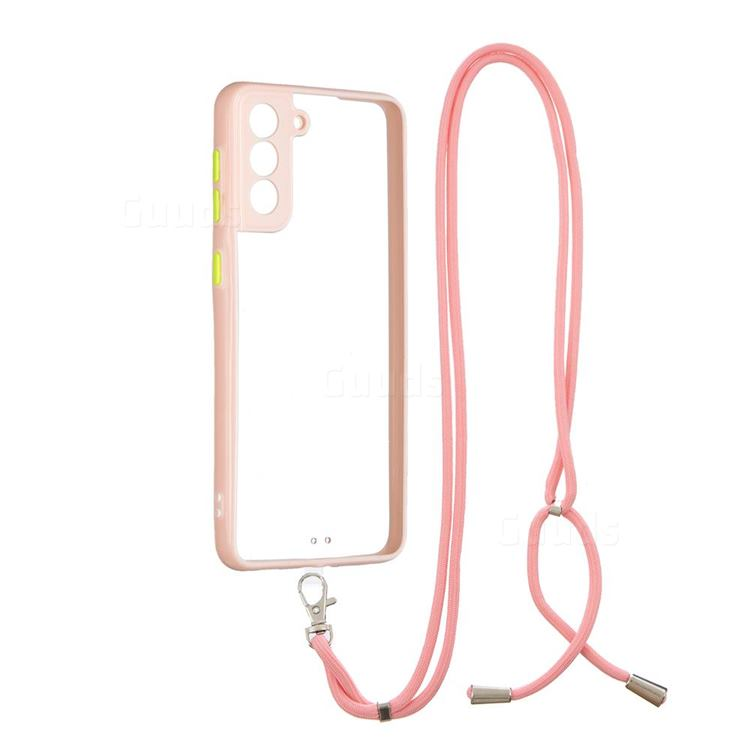 Necklace Cross-body Lanyard Strap Cord Phone Case Cover for Samsung Galaxy S21 Plus - Pink