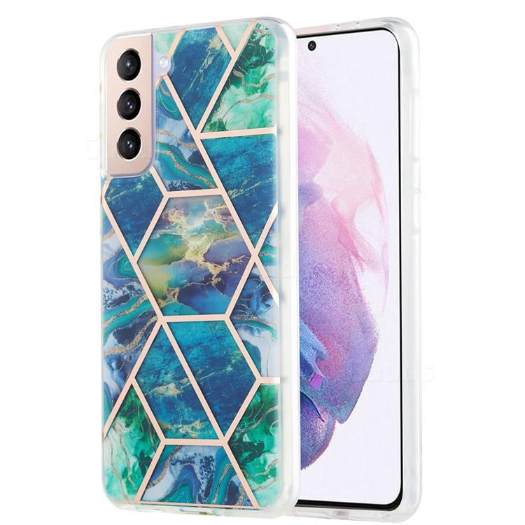 Blue Green Marble Pattern Galvanized Electroplating Protective Case Cover for Samsung Galaxy S21 Plus