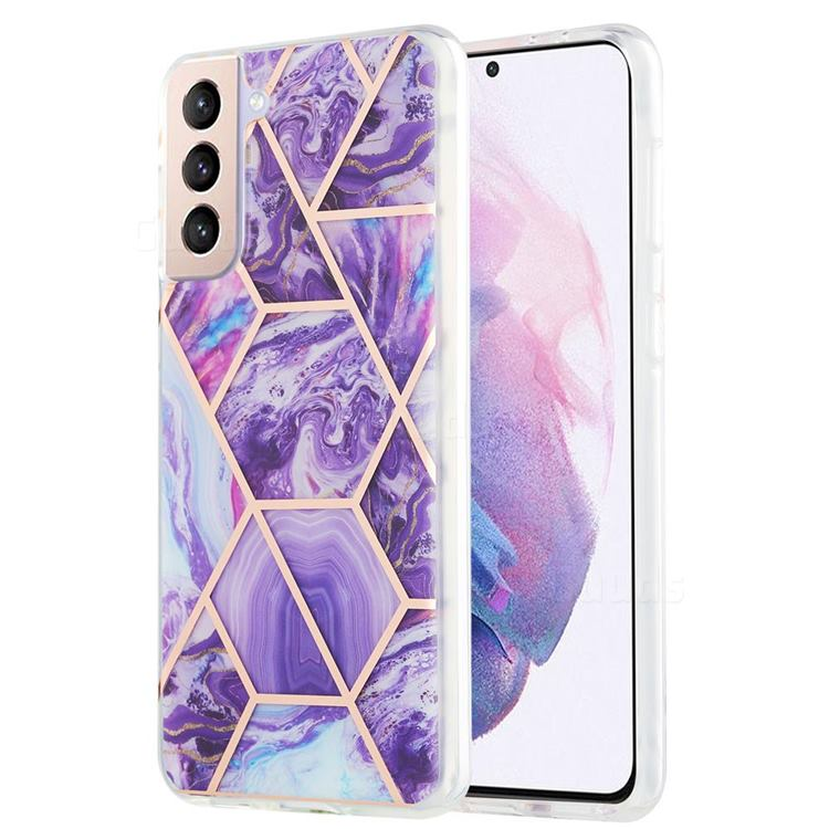 Purple Gagic Marble Pattern Galvanized Electroplating Protective Case Cover for Samsung Galaxy S21 Plus
