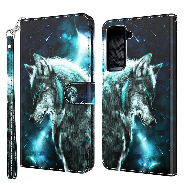 Snow Wolf 3D Painted Leather Wallet Case for Samsung Galaxy S30 Plus / S21 Plus