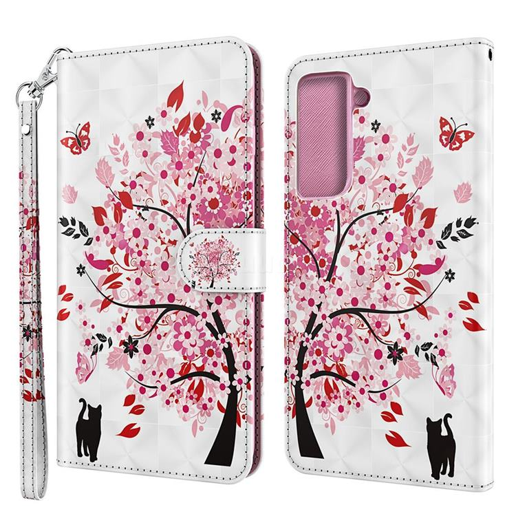 Tree and Cat 3D Painted Leather Wallet Case for Samsung Galaxy S30 Plus / S21 Plus
