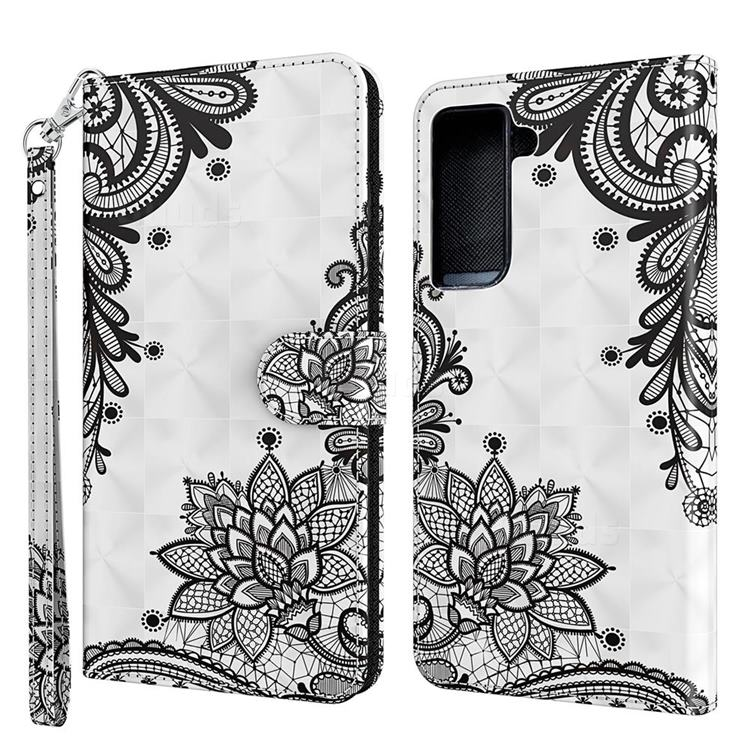 Black Lace Flower 3D Painted Leather Wallet Case for Samsung Galaxy S30 Plus / S21 Plus