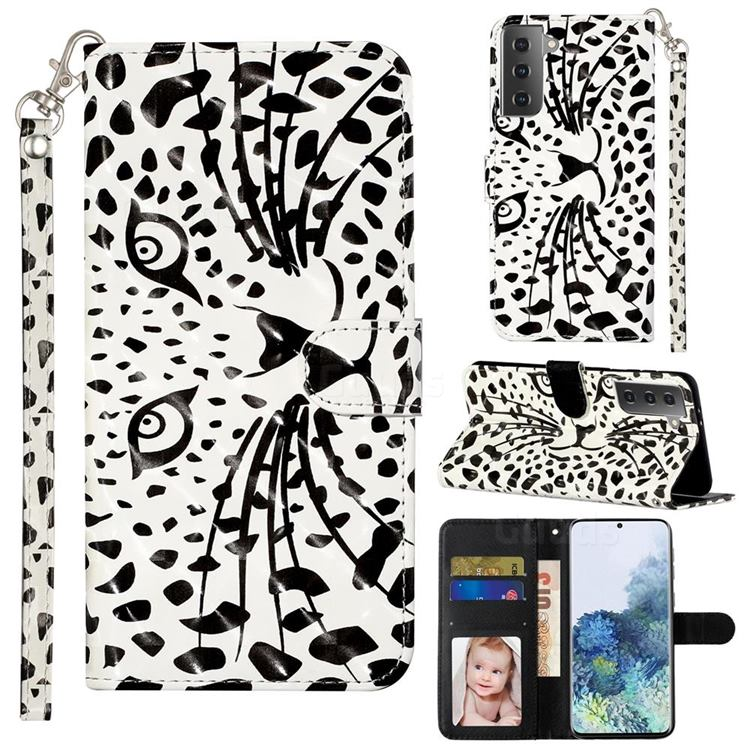 Leopard Panther 3D Leather Phone Holster Wallet Case for Samsung Galaxy S21 Plus / S30 Plus