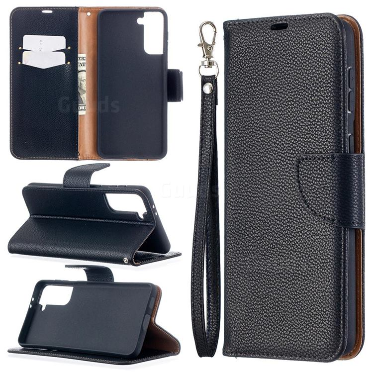 Classic Luxury Litchi Leather Phone Wallet Case for Samsung Galaxy S21 Plus / S30 Plus - Black