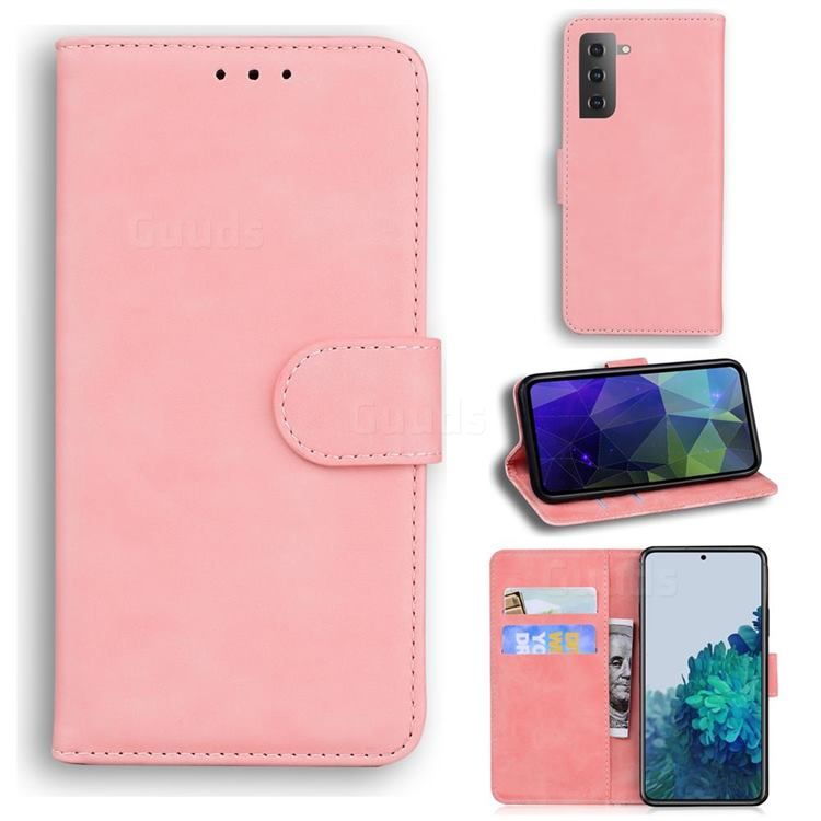 Retro Classic Skin Feel Leather Wallet Phone Case for Samsung Galaxy S21 Plus / S30 Plus - Pink