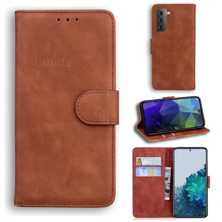 Retro Classic Skin Feel Leather Wallet Phone Case for Samsung Galaxy S21 Plus / S30 Plus - Brown