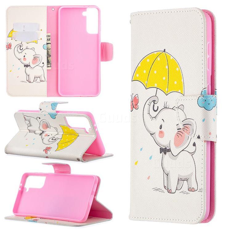 Umbrella Elephant Leather Wallet Case for Samsung Galaxy S21 Plus / S30 Plus