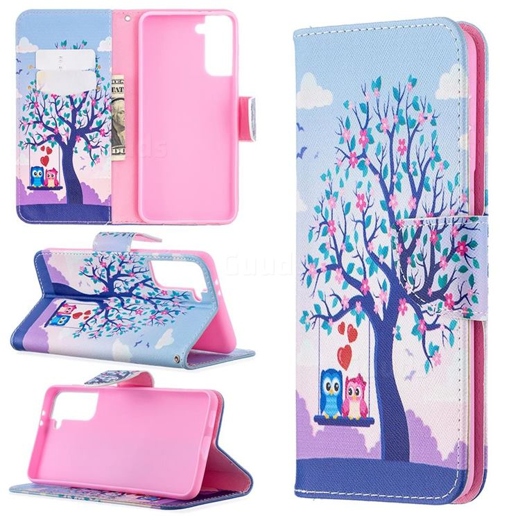 Tree and Owls Leather Wallet Case for Samsung Galaxy S21 Plus / S30 Plus
