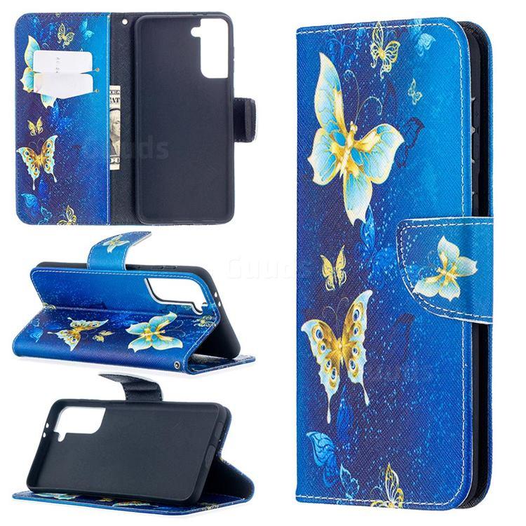 Golden Butterflies Leather Wallet Case for Samsung Galaxy S21 Plus / S30 Plus