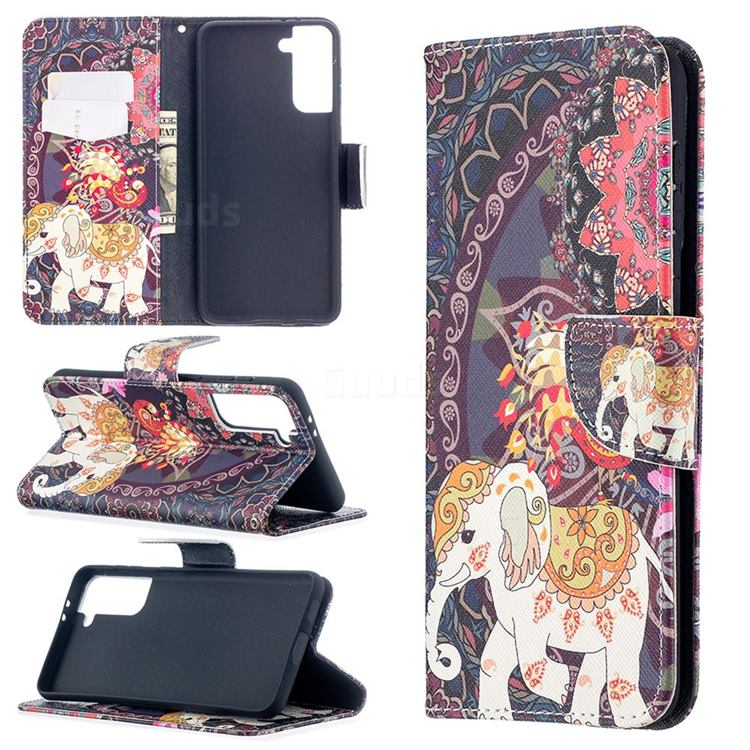 Totem Flower Elephant Leather Wallet Case for Samsung Galaxy S21 Plus / S30 Plus