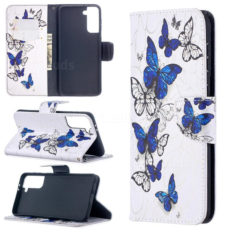 Flying Butterflies Leather Wallet Case for Samsung Galaxy S21 Plus / S30 Plus