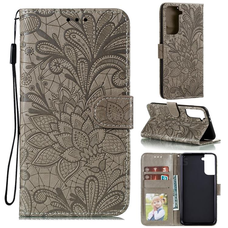 Intricate Embossing Lace Jasmine Flower Leather Wallet Case for Samsung Galaxy S21 Plus / S30 Plus - Gray